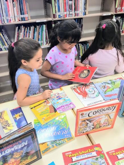 girl choosing books